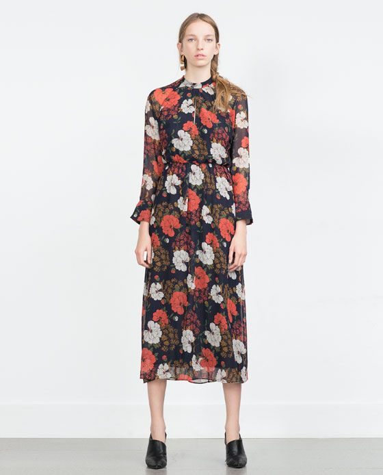 enjoying the dark floral print // LONG PRINTED DRESS from Zara  I ...