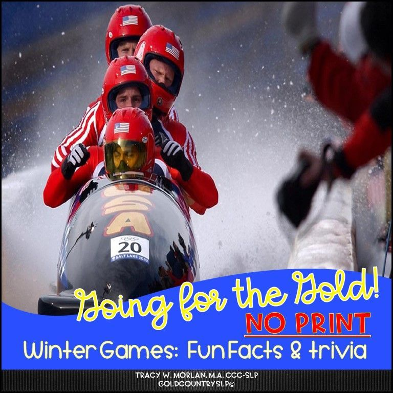 Use on your tablet or SmartBoard! NO PRINTING! NO PREP! Intended for use on a tablet, PC, or phone. Links are clickable. There are 20 Winter Game Facts and 20 Wh-questions to check for comprehension. Bonus reasoning questions included that encourage critical thinking skills. Addresses non-fiction information about the Winter Olympics. #slpeeps  #slpontpt #goldcountryslp #noprintspeechtherapy