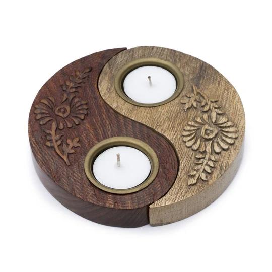 Yin Yang Wood Tea Light Candle Holder Handmade And Fair Trade Hey Duchess Tea Lights Tea Light Holder Tealight Candle Holders