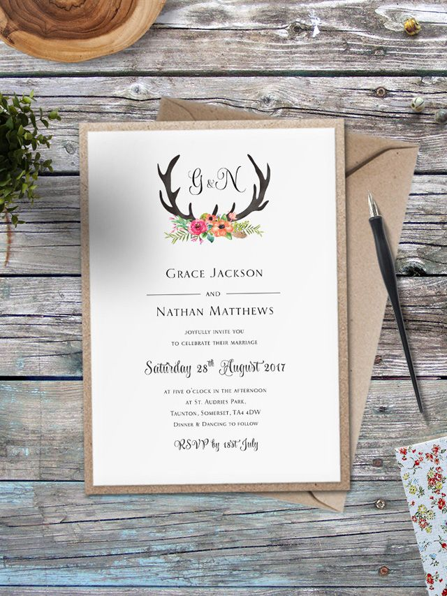 20 Of The Best British Designer Wedding Invitations For 2016 The English Wedding Blog British Wedding Invitations Antler Wedding Invitations Stag Wedding Invitations