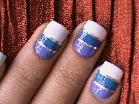 Striping Tape Nail Art Tutorial How To Do Stripe Nails DIY Cheerleaders