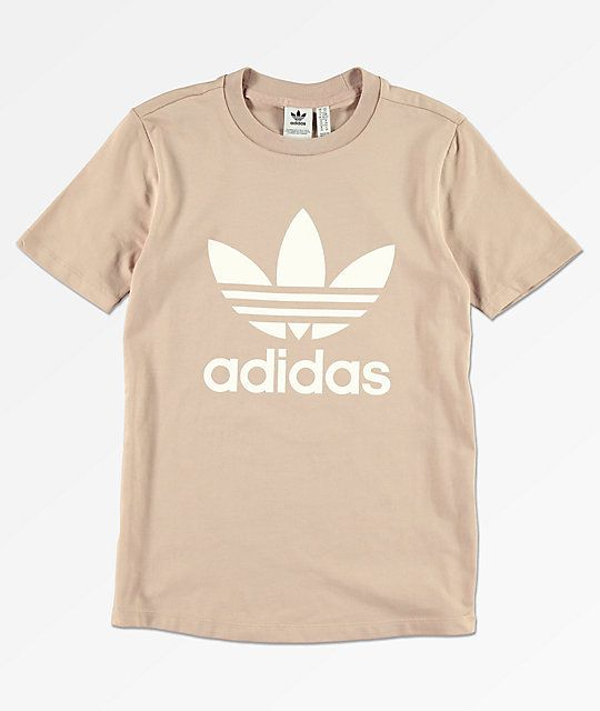 adidas damen trefoil t-shirt ash pearl white 36