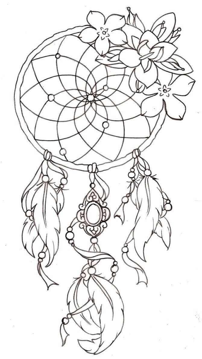dreamcatcher coloring pages 3 color pages pinterest tattoo