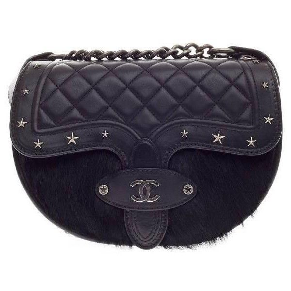 Pre Owned Chanel Dallas Studded Saddle Bag Quilted Calfskin And Pony 4 790 Liked On Polyvore Featuring Bags Han Leather Shoulder Bag Shoulder Bag Bags