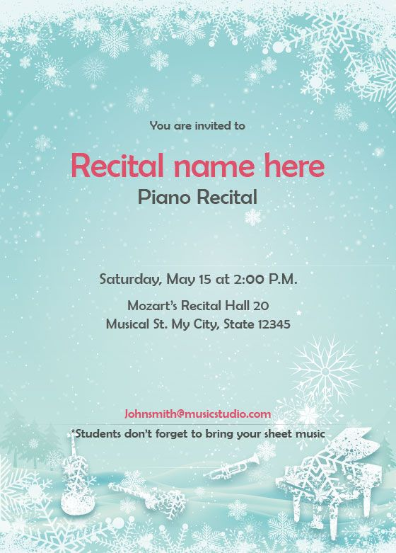 winter theme recital invitation