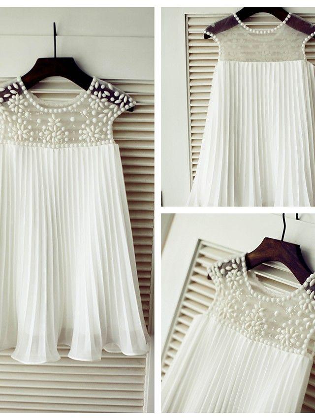 A-line Knee-length Flower Girl Dress - Chiffon Short Sleeve - GBP £41.99 #chiffonshorts
