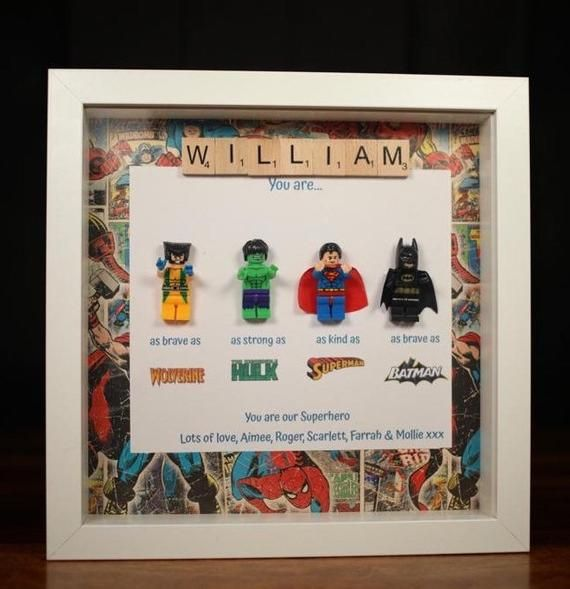 Personally lego picture frame handmade marvel avengers comic #superherogifts