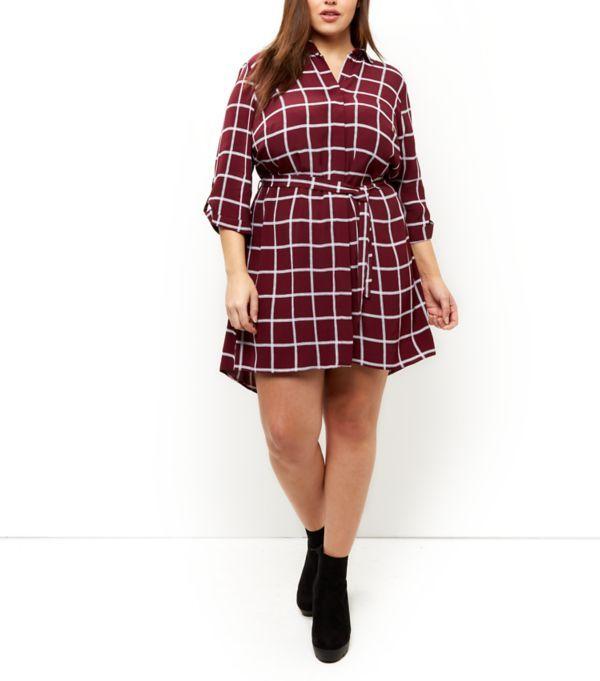 Plus Size Burgundy Grid Check Roll Sleeve Shirt Dress  | New Look
