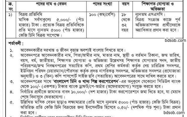 Bangladesh Sugar & Food Industries Corporation Job Circular 2015