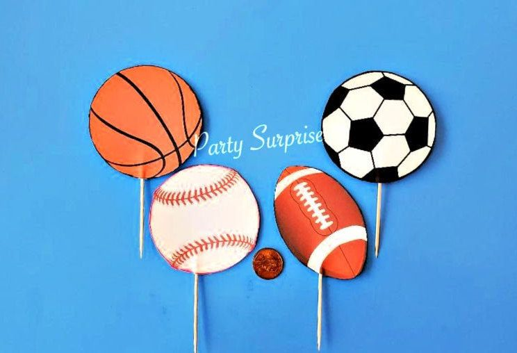 Sports Balls Cupcake Toppers Basketball Baseball Football Soccer Sports Party Decor Customize Custom Made Birthday Team Sports Party Toppers In 2020 Kids Party Decorations Sports Party Cupcake Toppers