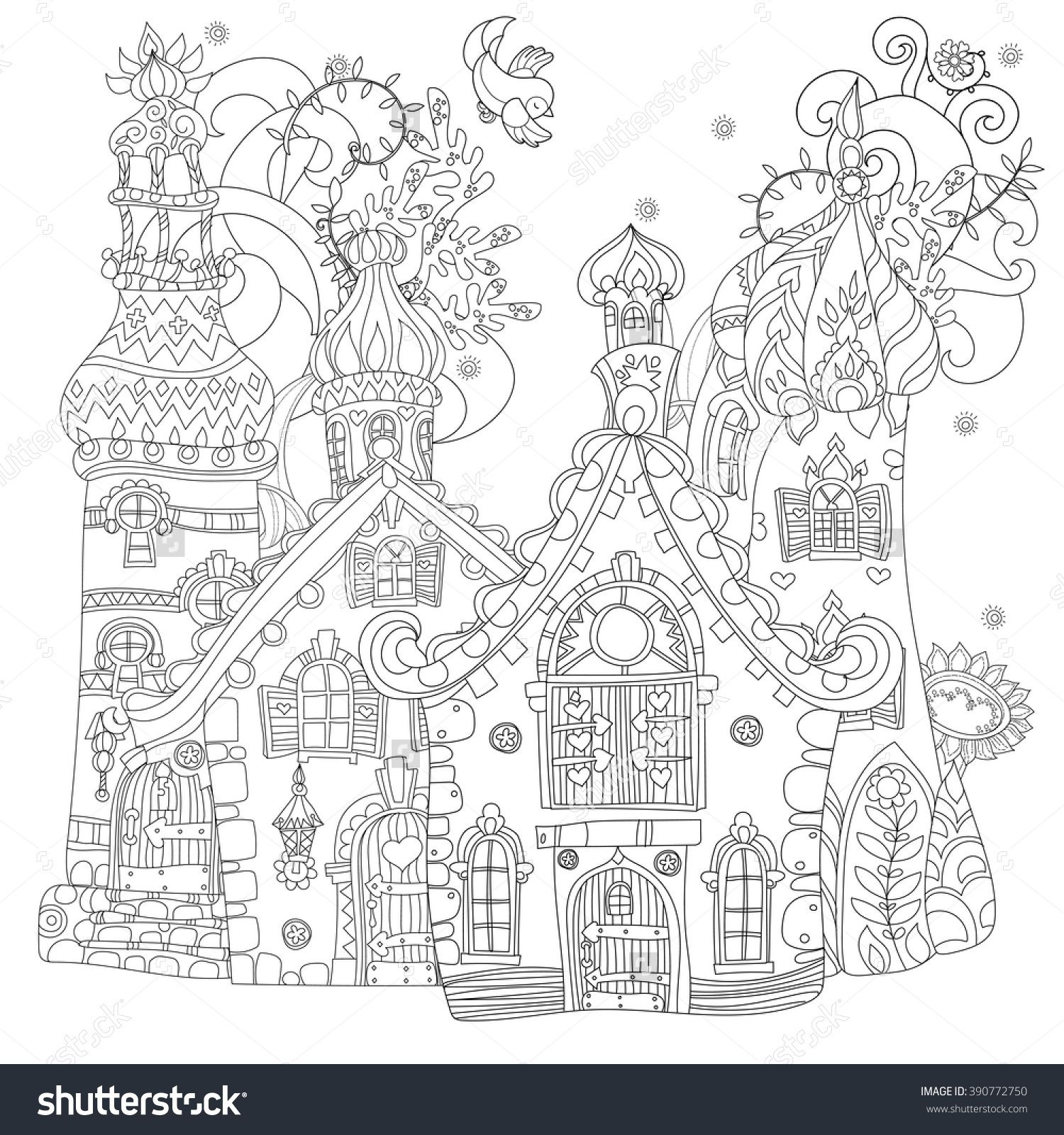 Vector Cute Fairy Tale Town DoodleVector Line IllustrationSketch For Postcard Or Print Coloring Adult BookBoho Zentangle Style