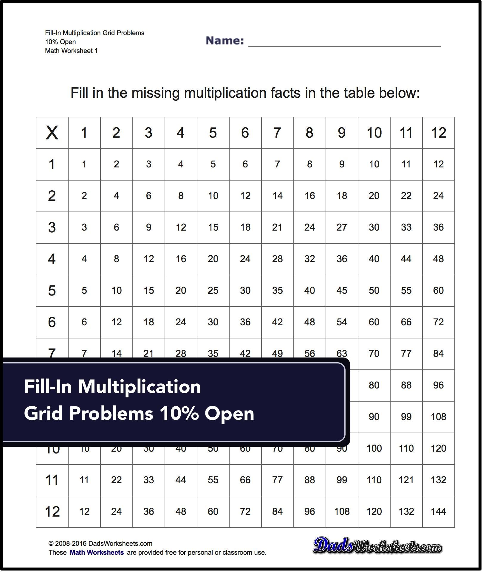 Grid Problem Multiplication Worksheets Answer Keys To These Sheets Make A Great Multiplication