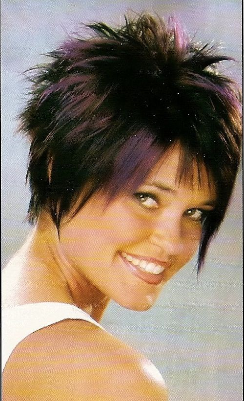 Coloring Ideas For Short Hair : Short funky haircuts with purple highlights for round faces images