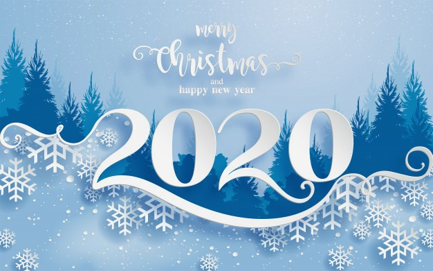 Merry Christmas And Happy New Year 2020 White Background