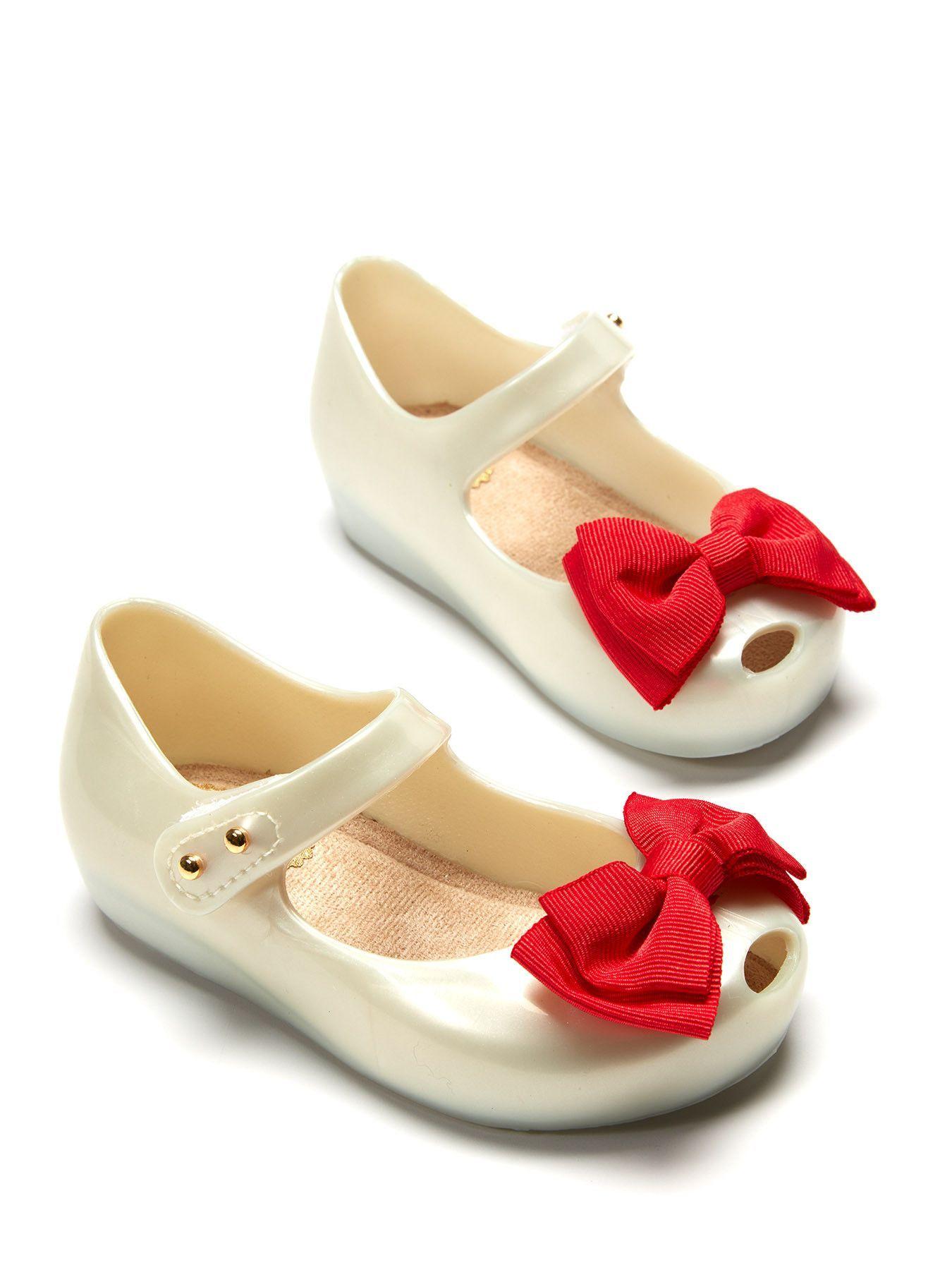 1f2f72efb0ac0 Mini Melissa Ultra Sweet White   Red Shoe Sapatos De Criança
