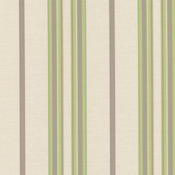 Designer Selection Josephine Striped Wallpaper Cream Green - Green and brown wallpaper