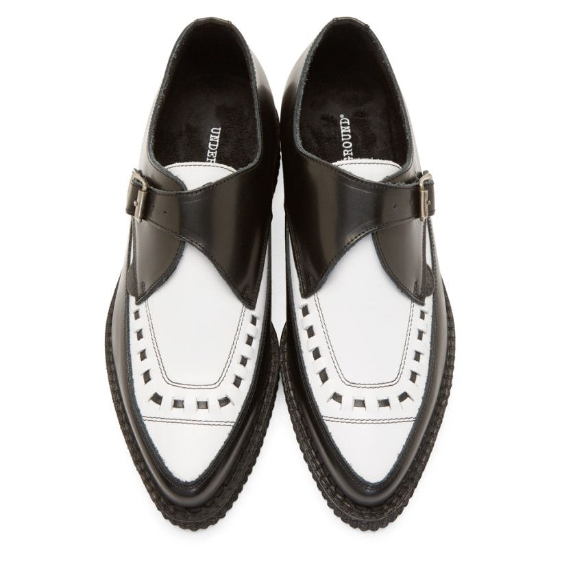 Underground Black & White Leather Barfly Creepers