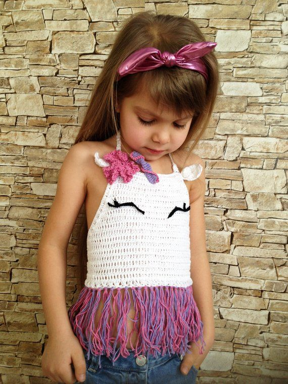 Unicorn crochet toddler baby top Animals fringe crop top Horse beach clothing childrens kids Boho colorful outfit Crochet halter unicorn top