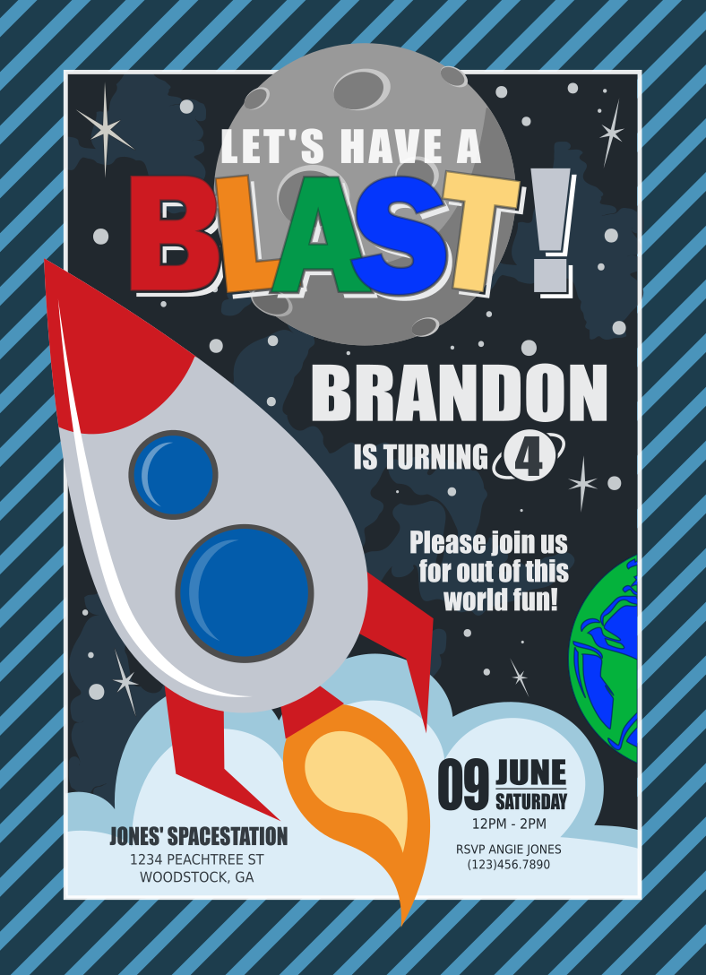 Have a blast without photo custom space themed birthday for Space themed stationery