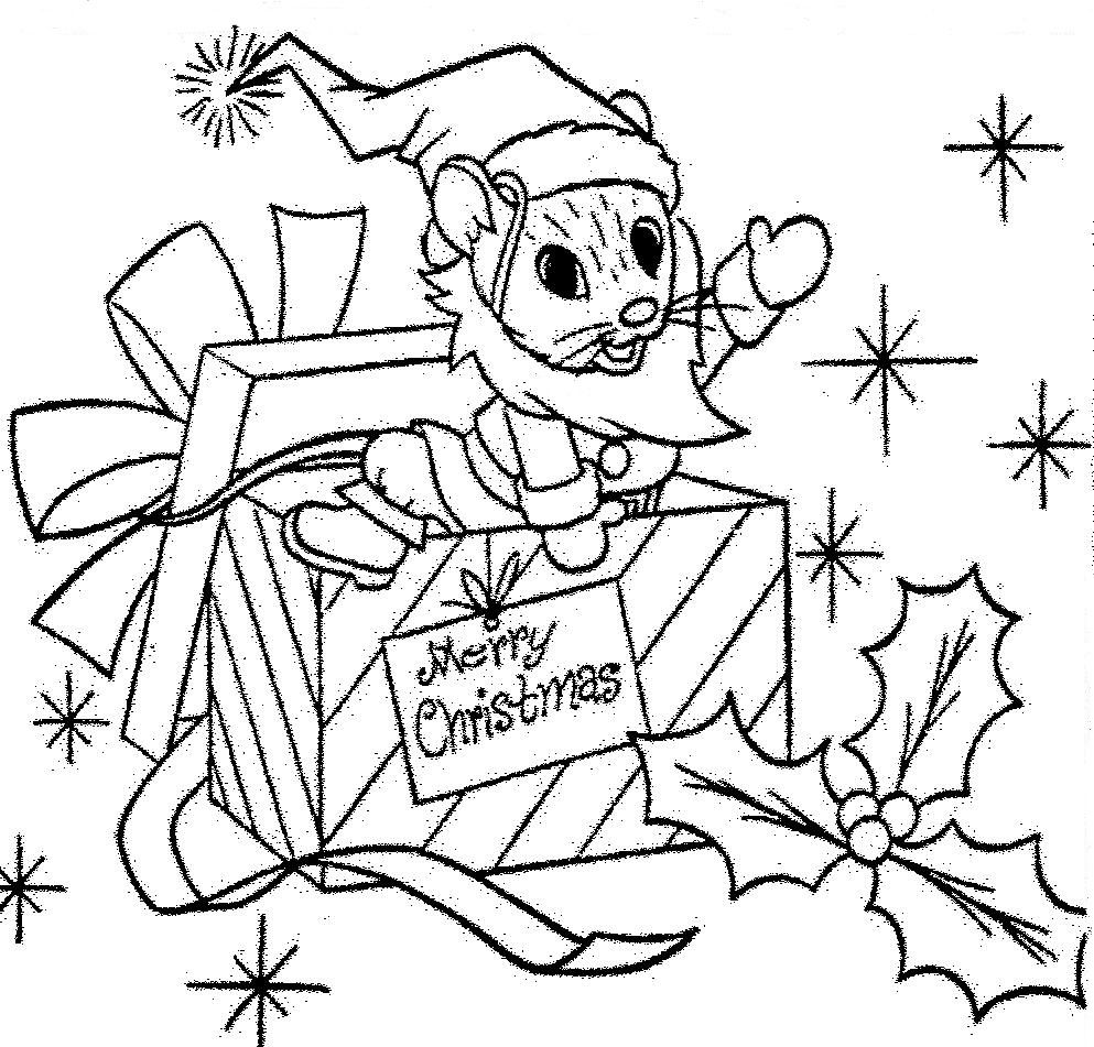 Santa Mouse Christmas Gift Coloring Page