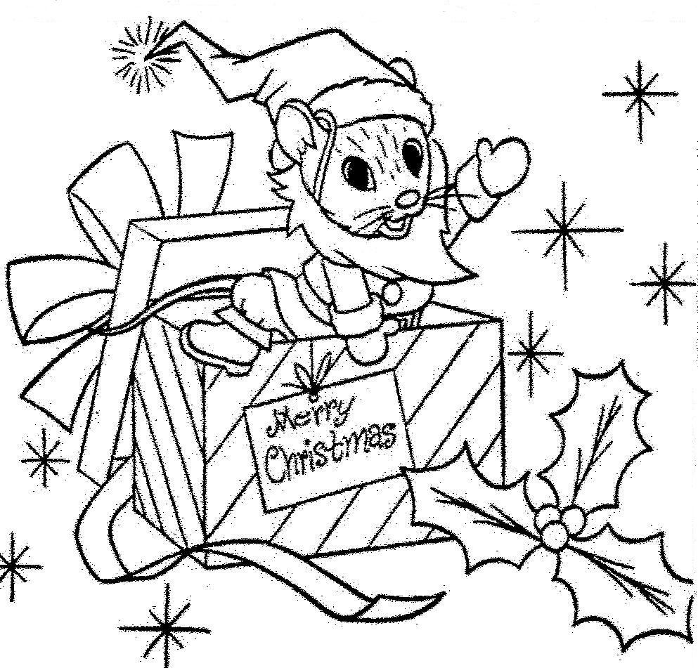 Santa Mouse Christmas Gift Coloring Page