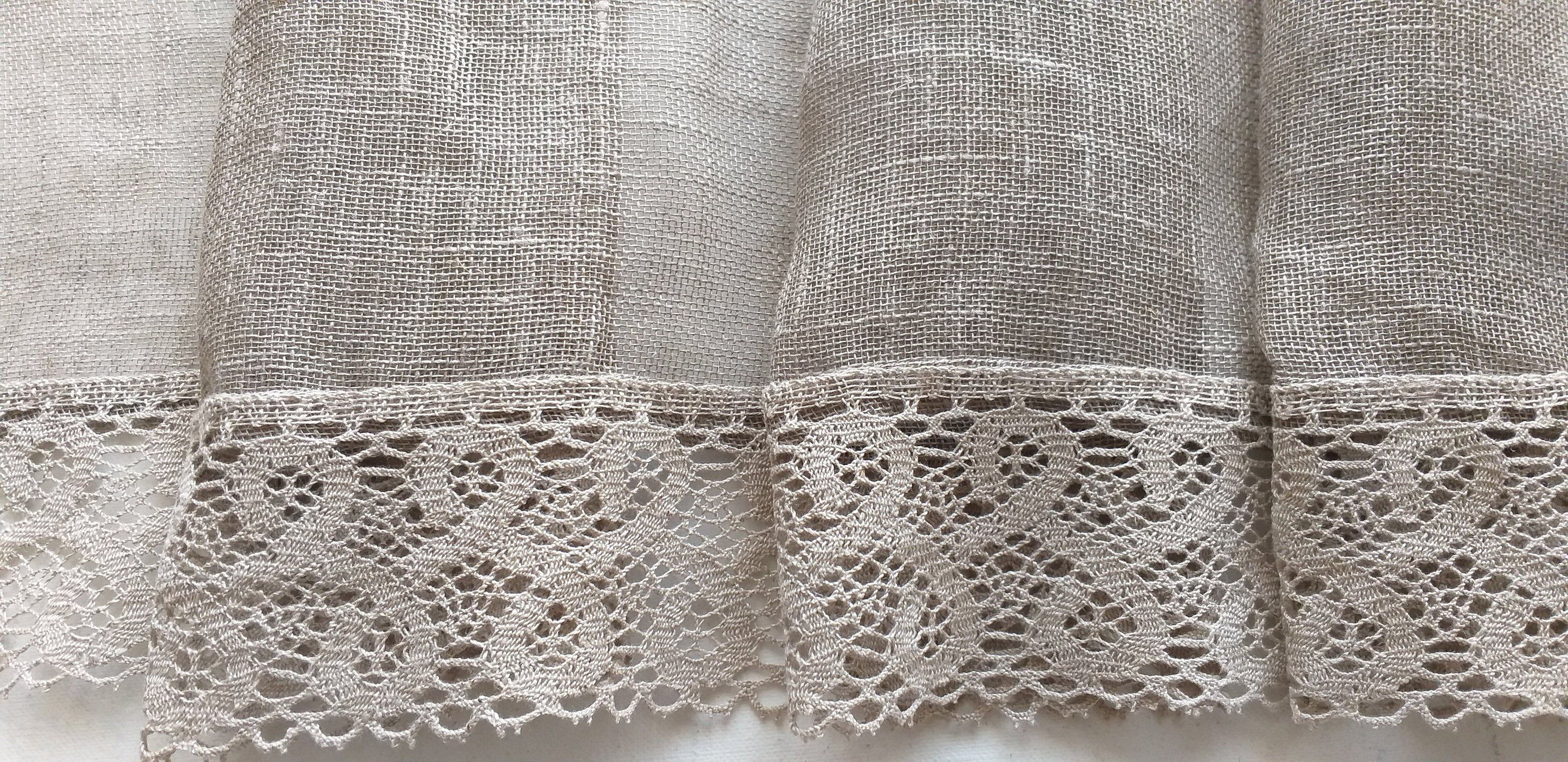 Burlap Linen sheer curtains with lace / Custom curtain panel / Farmhouse curtains / kitchen cafe curtain / Living room curtains #customcurtain  #curtainsideasluxury  #curtainsstyles #livingroomdecor #linen #kitchendecor #kitchencurtains #linencurtains