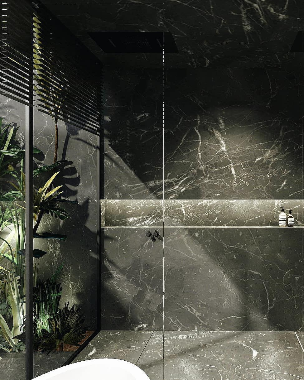 Black Marble Bathroom Facing A Patio With A Tropical Touch By