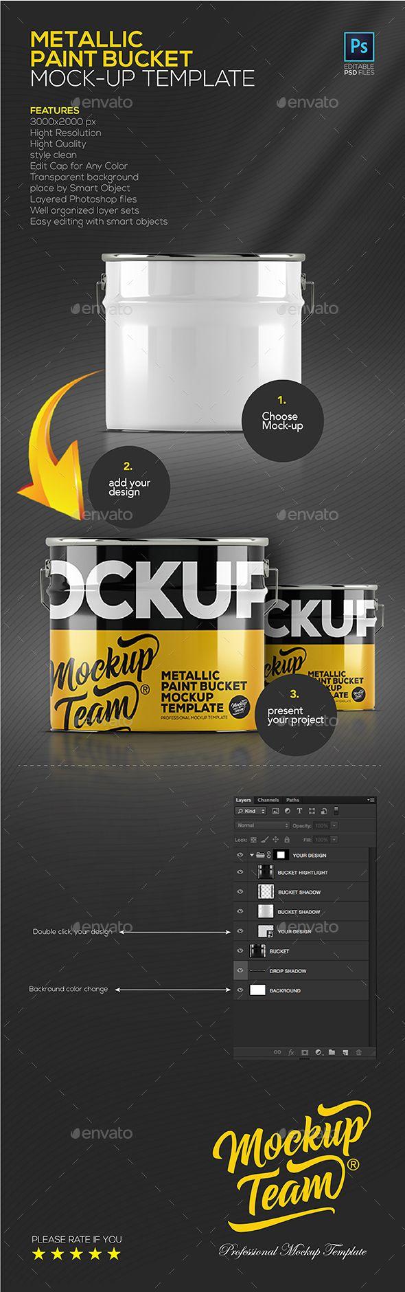 Metallic Paint Bucket Mock-up. Download here: https://graphicriver.net/item/metallic-paint-bucket-mockup-template/17210950?ref=ksioks