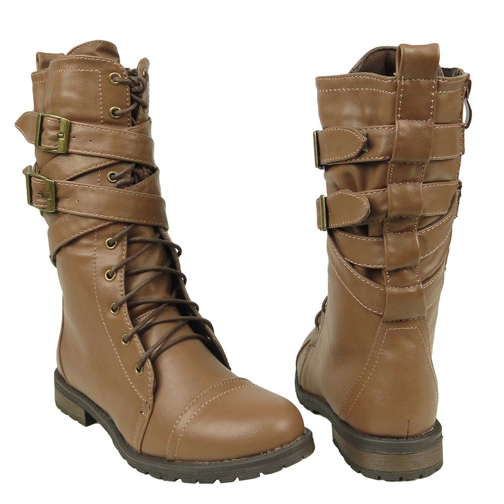 Women's Mid Calf Cross Strap Buckle Comfort Lace Up Combat Boots ...