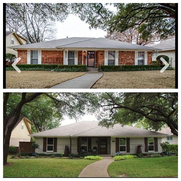 1970 S Ranch Before And After Ranch House Remodel Painted Brick House Ranch House Exterior