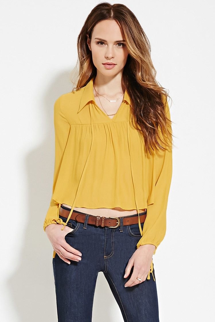 Forever 21 Contemporary - This airy woven blouse is complete with a basic collar, a self-tie keyhole neckline, and long sleeves with a self-tie drawstring trim.