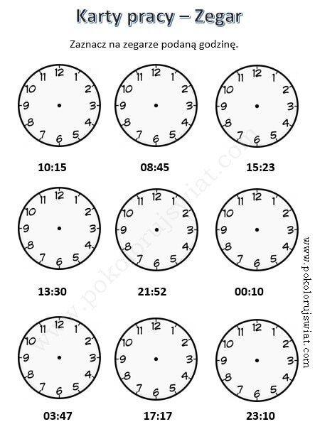 Karty Pracy Zegar Website Posts Zadania Matematyczne