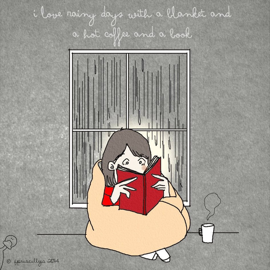 I love rainy days with a blanket and a hot coffee and a ...