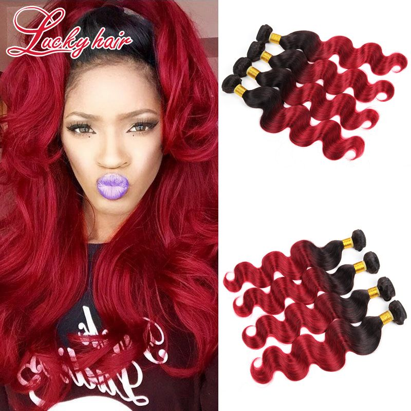 Ombre Brazillian Virgin Hair Body Wave 1B Burgundy Ombre