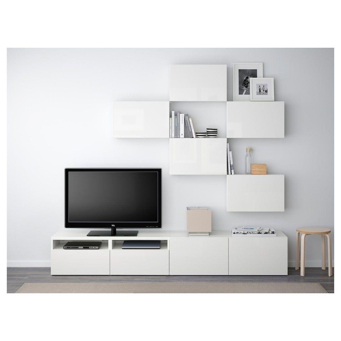 Besta Tv Storage Combination White Selsviken High Gloss White