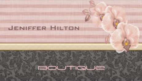 Professional elegant luxury damask orchid on linen stripes business girly damask business cards page 1 reheart Gallery