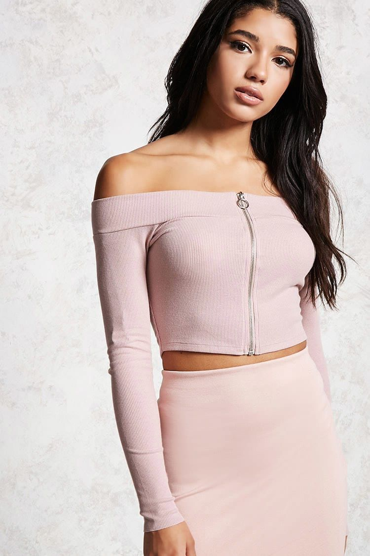 3fcd67f3c3f Zip-Front Off-the-Shoulder Top | MySpring/SummerSwaggg in 2019 ...