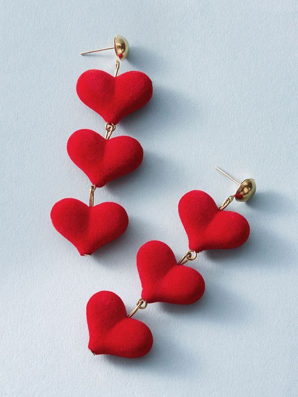 1pair Three Layered Heart Drop Earrings