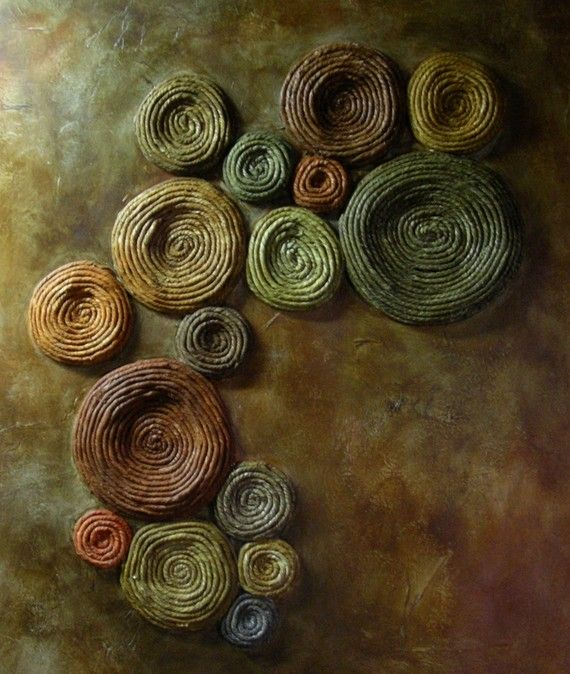 Tree Lichen Painting Abstract Mixed Media Copper a