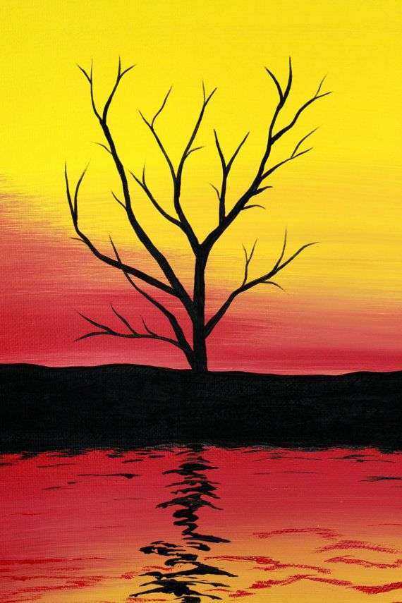 Original pintura acrílica abstracta lienzo por PicturesqueFolkart #lemonade