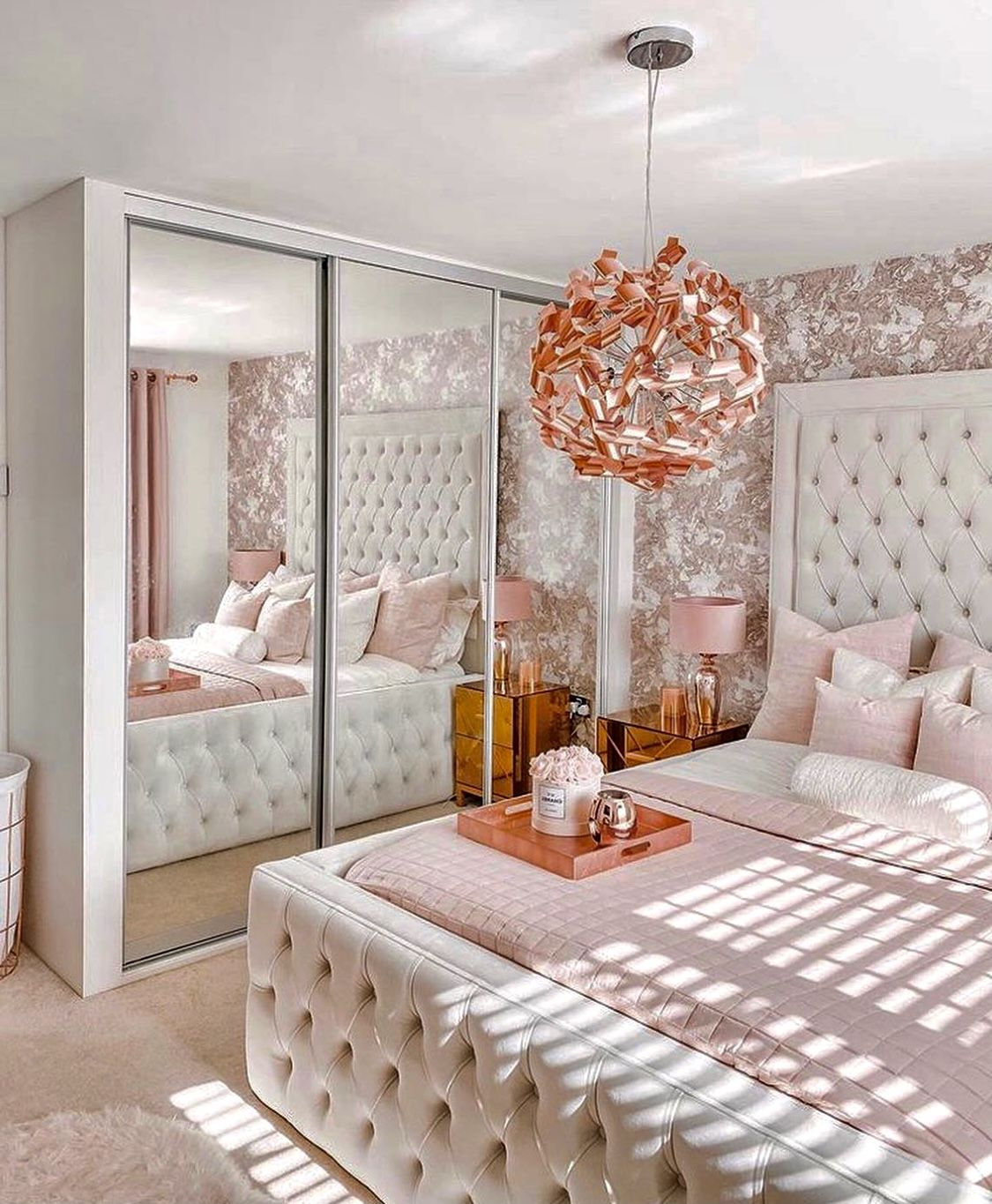 Cozy White And Baby Pink Glam Bedroom Decor With White Velvet Tufted Bed And Pink Carpet Glam Bedroom Decor Room Inspiration Bedroom Luxurious Bedrooms Luxury pink bedroom ideas