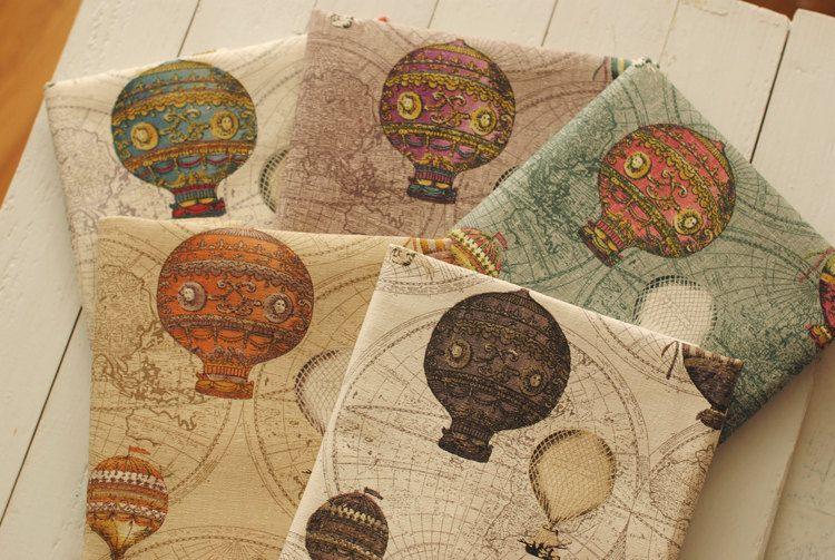 Hot air balloon cotton linen fabric. The blue tone would make a lovely valance for a little boy's nursery.