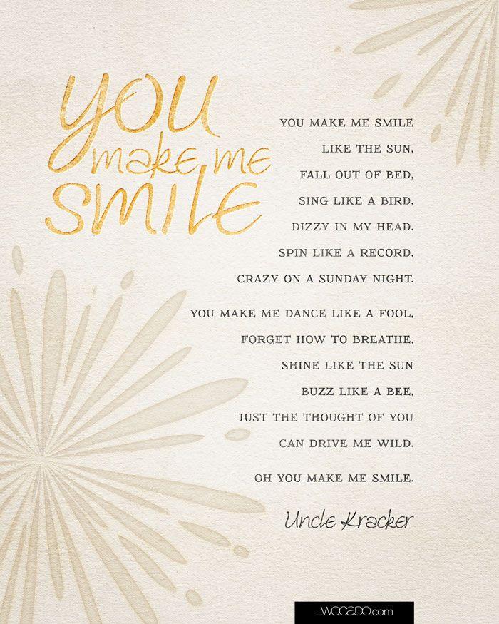 You make me smile uncle kracker lyrics 8x10 printable by wocado you make me smile uncle kracker lyrics stopboris Image collections