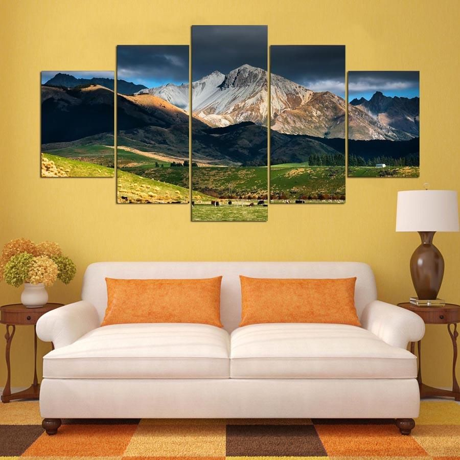 New Zealand Mountains 5 Panel Canvas Wall Art Home Decor | Wall ...
