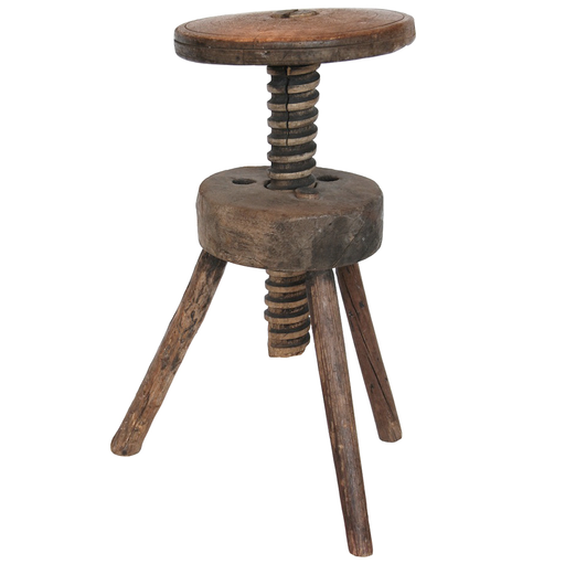 Wood Carved Swirl Stool | Vintage Adjustable Artistu0027s Stool With Carved Wood  Screw Post