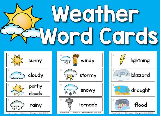 Weather Picture-Word Cards | Pinterest | Kindergarten, Weather and Cards