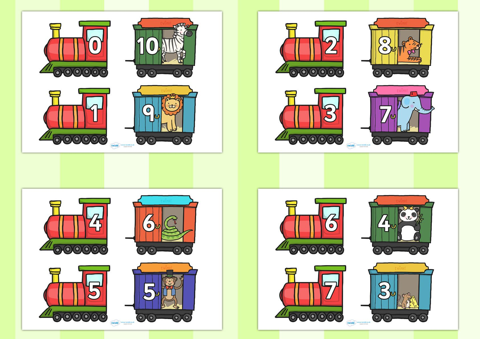 Twinkl Resources Gt Gt Number Bonds To 10 On Trains And Carriages Gt Gt Classroom Printables For Pre