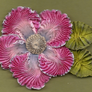 Vintage Passementrie Flower. Flower is made from vintage French ombre ribbon and features a 1930's crocheted button in blue or grey.  Size of flower is 3x3 inches not including leaves.