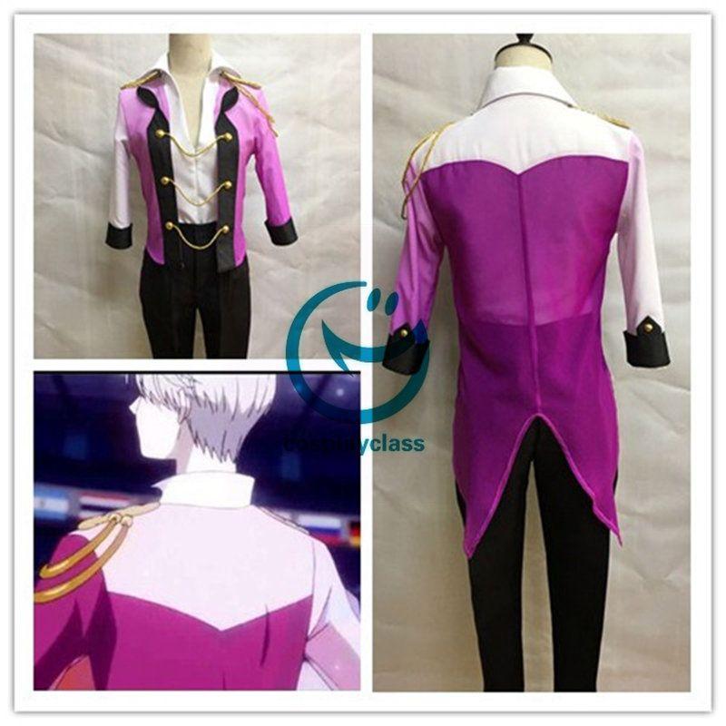 YURI!! On ICE Victor Nikiforov Purple Pink Blue Skating Suit Cosplay Costumes