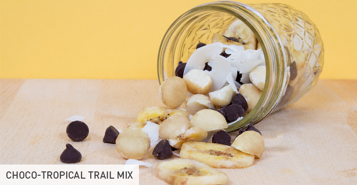 Choco-tropical trail mix: Go bananas for a blend of ½ a handful of each: macadamia nuts, dried coconut, dark chocolate chips, and banana chips